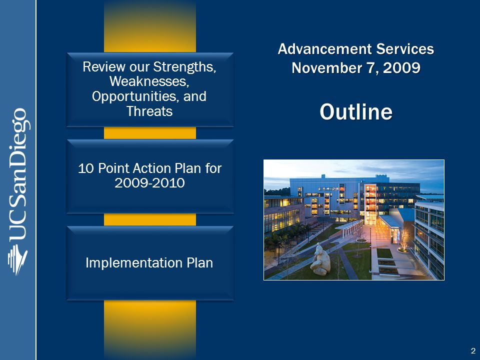Advancement Services November 7, 2009 Outline Review our Strengths, Weaknesses, Opportunities, and Threats 10 Point Action Plan for Implementation Plan 2