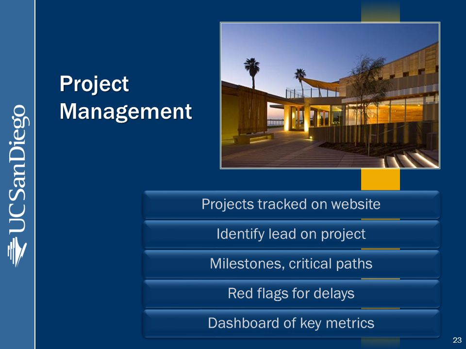 Project Management Projects tracked on website Identify lead on projectMilestones, critical paths Red flags for delaysDashboard of key metrics 23