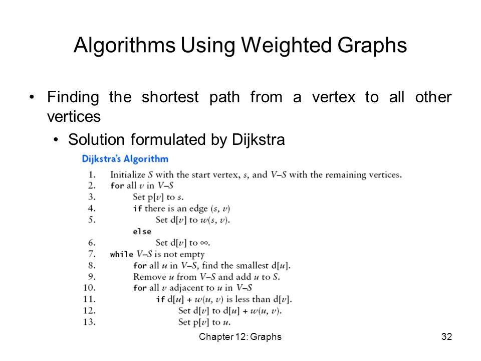 Chapter 12: Graphs32 Algorithms Using Weighted Graphs Finding the shortest path from a vertex to all other vertices Solution formulated by Dijkstra