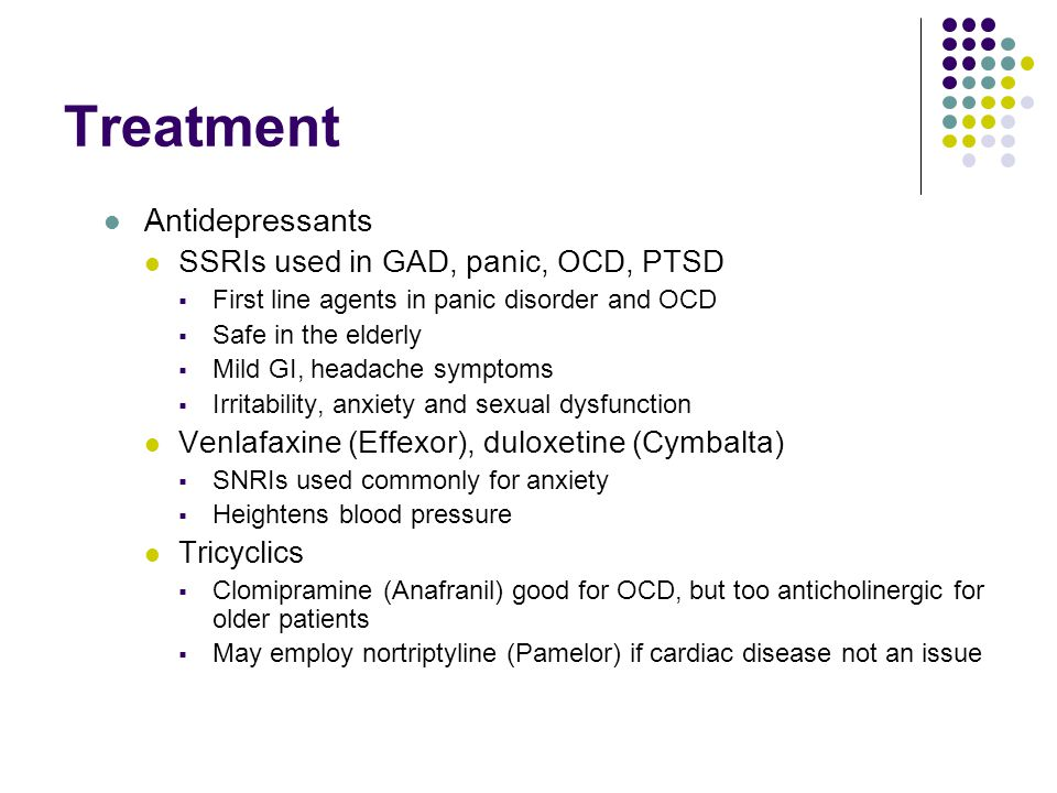 How to treat anxiety without ssris and sexual dysfunction