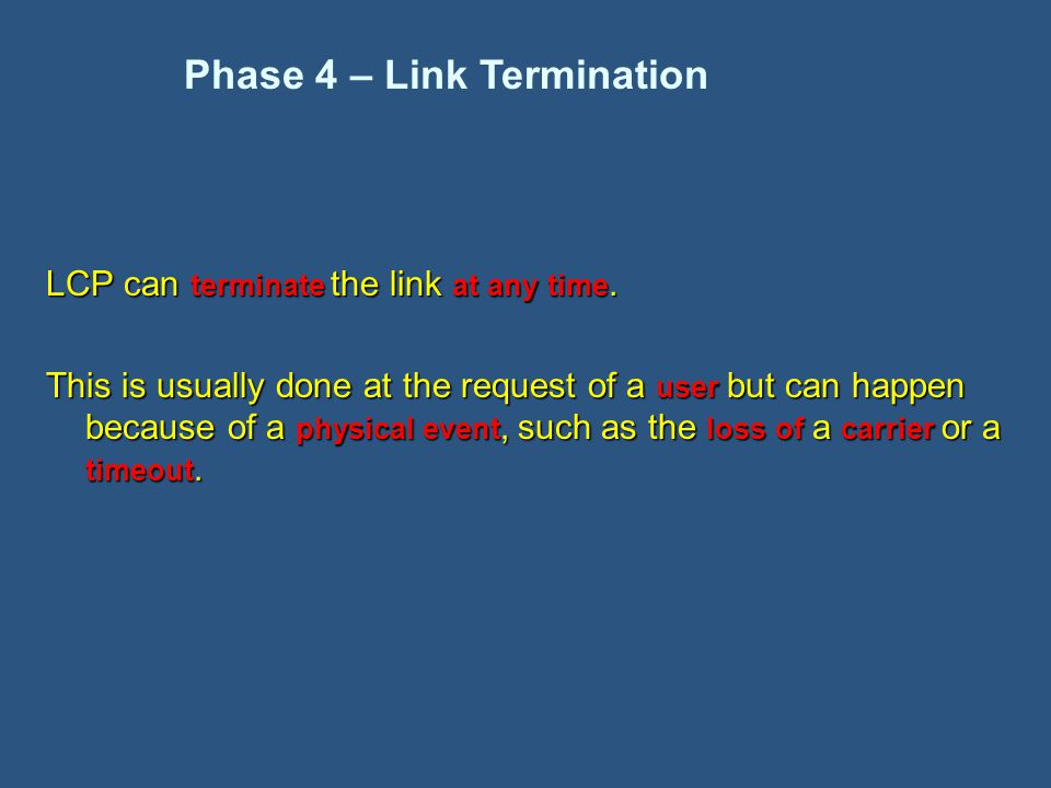 LCP can terminate the link at any time.