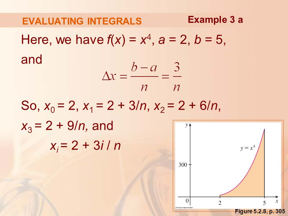 EVALUATING INTEGRALS Here, we have f(x) = x 4, a = 2, b = 5, and So, x 0 = 2, x 1 = 2 + 3/n, x 2 = 2 + 6/n, x 3 = 2 + 9/n, and x i = 2 + 3i / n Example 3 a Figure 5.2.8, p.