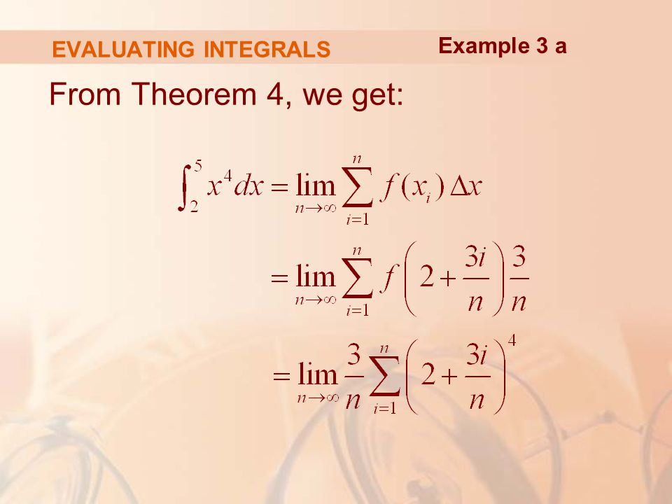 EVALUATING INTEGRALS From Theorem 4, we get: Example 3 a