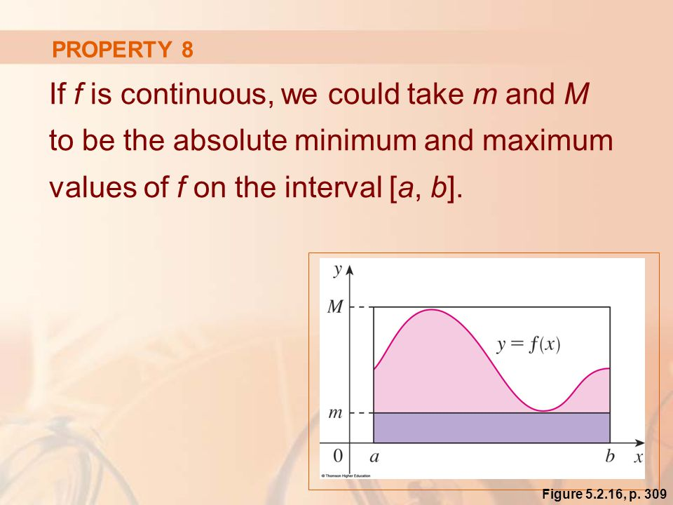 PROPERTY 8 If f is continuous, we could take m and M to be the absolute minimum and maximum values of f on the interval [a, b].