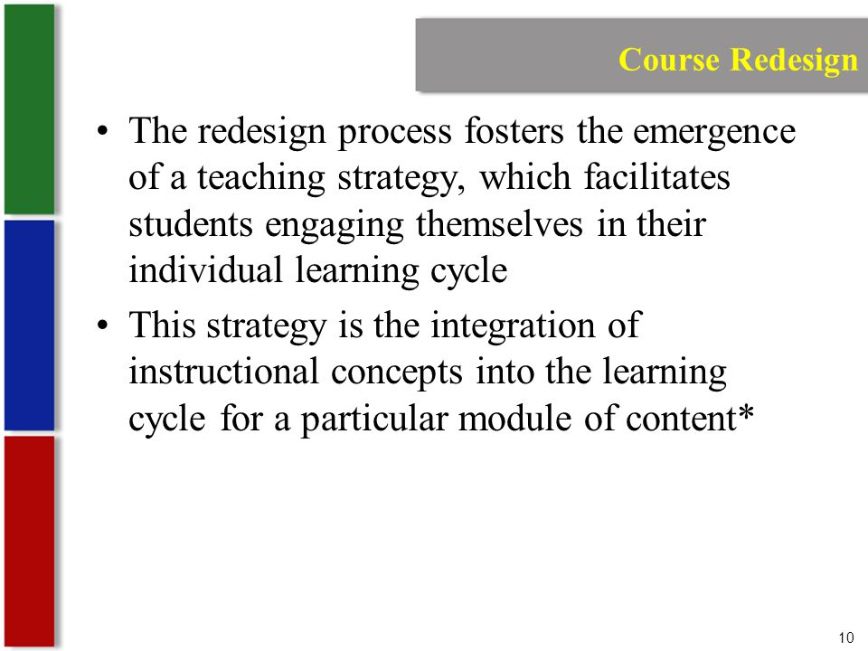 10 Course Redesign The redesign process fosters the emergence of a teaching strategy, which facilitates students engaging themselves in their individual learning cycle This strategy is the integration of instructional concepts into the learning cycle for a particular module of content*