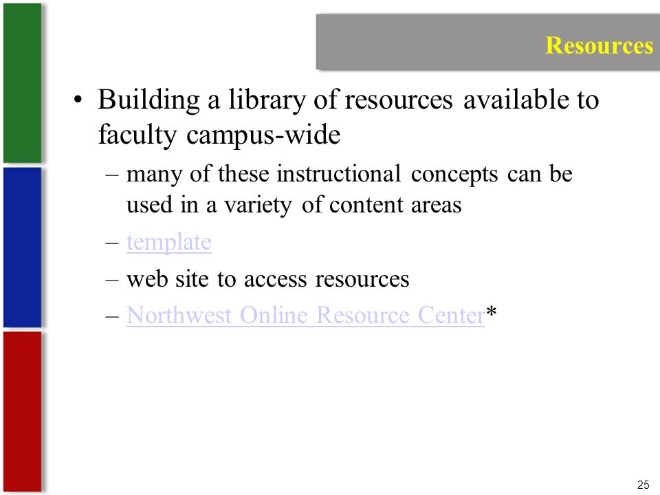 25 Resources Building a library of resources available to faculty campus-wide –many of these instructional concepts can be used in a variety of content areas –templatetemplate –web site to access resources –Northwest Online Resource Center*Northwest Online Resource Center