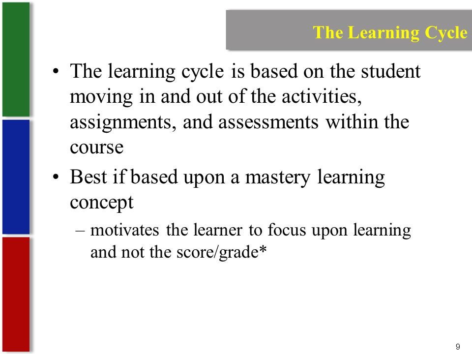9 The Learning Cycle The learning cycle is based on the student moving in and out of the activities, assignments, and assessments within the course Best if based upon a mastery learning concept –motivates the learner to focus upon learning and not the score/grade*