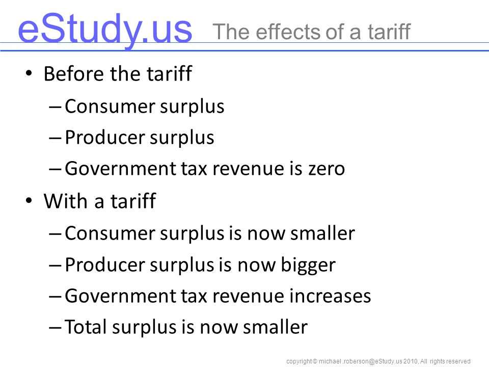 eStudy.us copyright © 2010, All rights reserved Before the tariff – Consumer surplus – Producer surplus – Government tax revenue is zero With a tariff – Consumer surplus is now smaller – Producer surplus is now bigger – Government tax revenue increases – Total surplus is now smaller The effects of a tariff