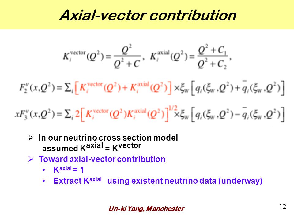 Axial-vector contribution Un-ki Yang, Manchester 12  In our neutrino cross section model assumed K axial = K vector  Toward axial-vector contribution K axial = 1 Extract K axial using existent neutrino data (underway)