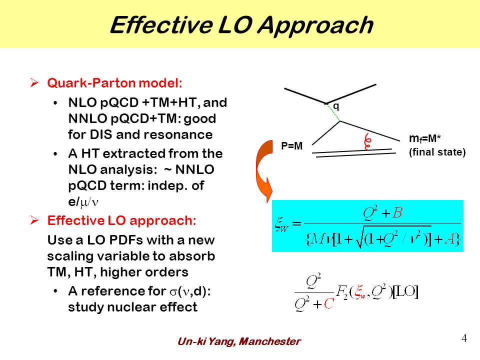 Un-ki Yang, Manchester 4 Effective LO Approach  Quark-Parton model: NLO pQCD +TM+HT, and NNLO pQCD+TM: good for DIS and resonance A HT extracted from the NLO analysis: ~ NNLO pQCD term: indep.