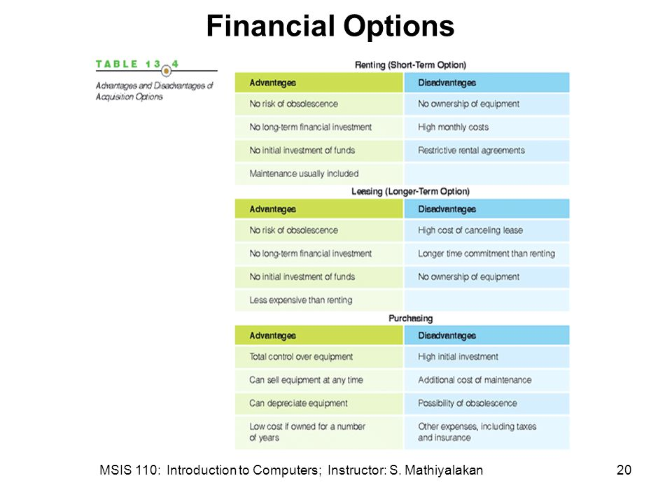 MSIS 110: Introduction to Computers; Instructor: S. Mathiyalakan20 Financial Options