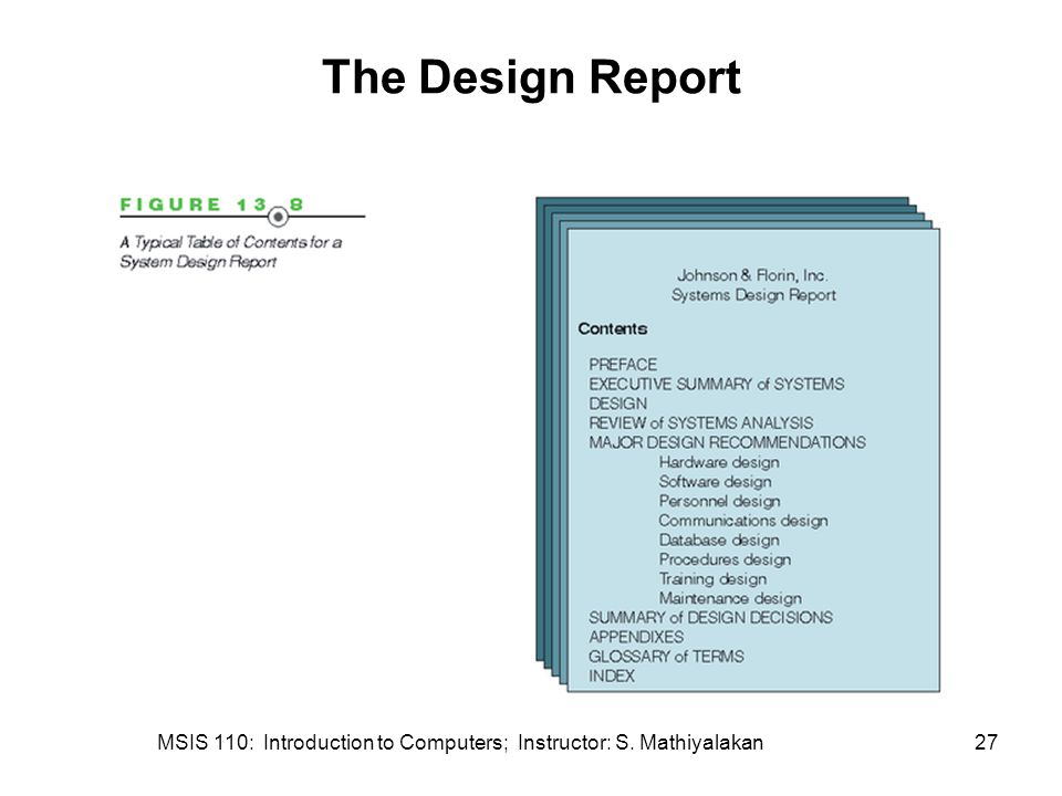 MSIS 110: Introduction to Computers; Instructor: S. Mathiyalakan27 The Design Report