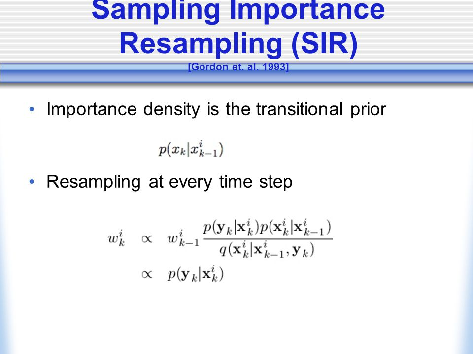 Sampling Importance Resampling (SIR) [Gordon et. al.