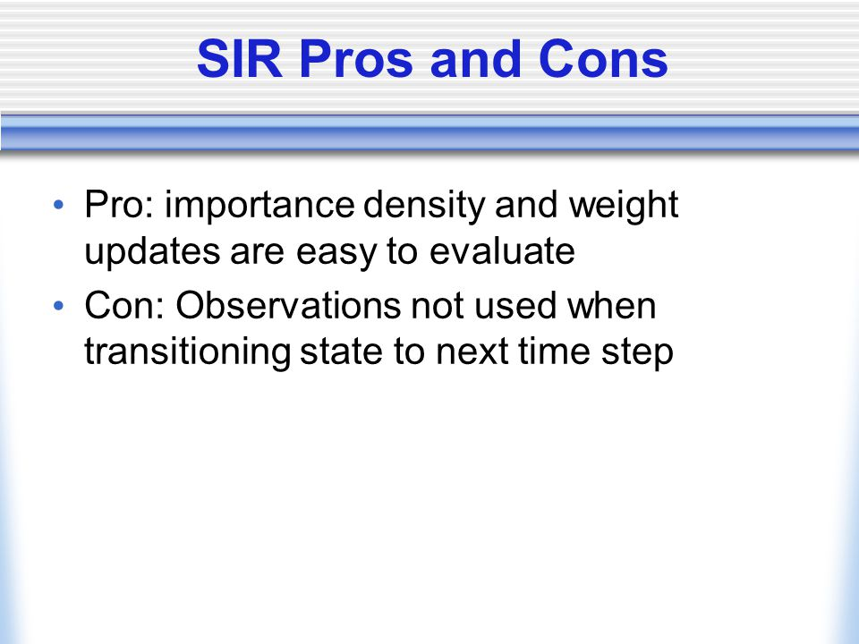 SIR Pros and Cons Pro: importance density and weight updates are easy to evaluate Con: Observations not used when transitioning state to next time step