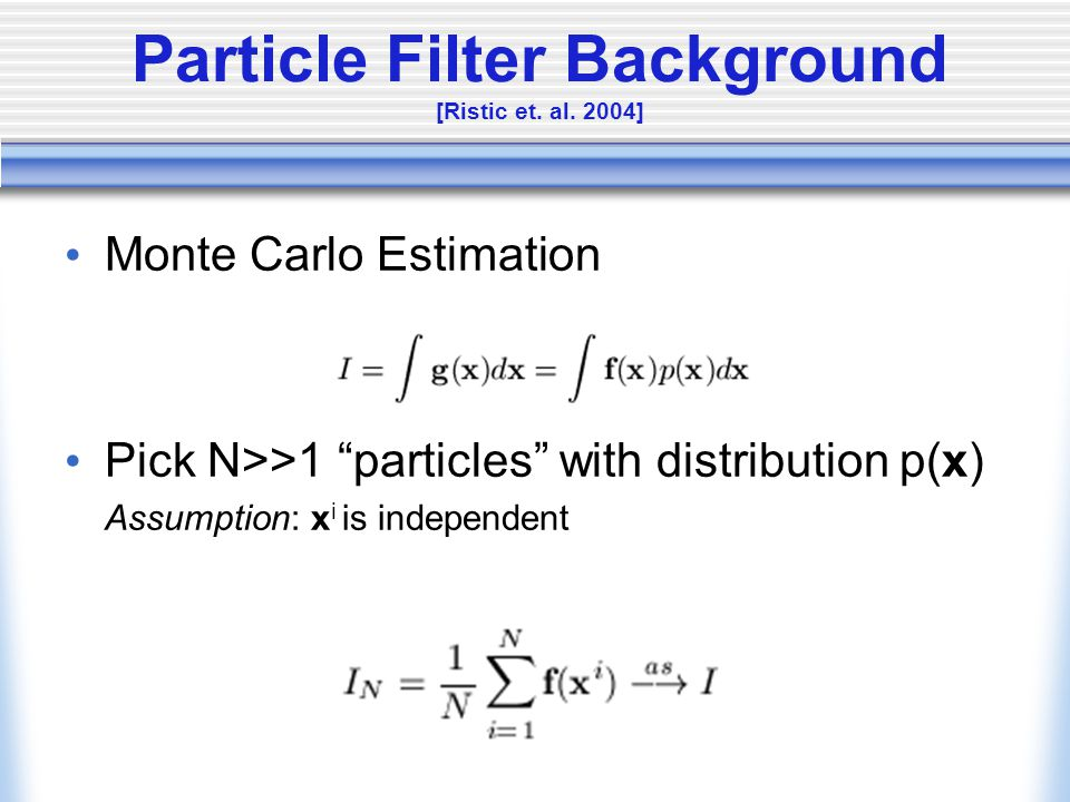 Particle Filter Background [Ristic et. al.