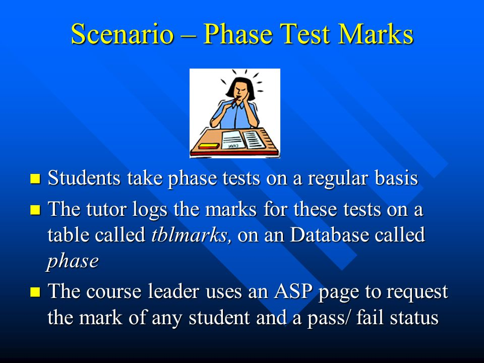 Scenario – Phase Test Marks Students take phase tests on a regular basis Students take phase tests on a regular basis The tutor logs the marks for these tests on a table called tblmarks, on an Database called phase The tutor logs the marks for these tests on a table called tblmarks, on an Database called phase The course leader uses an ASP page to request the mark of any student and a pass/ fail status The course leader uses an ASP page to request the mark of any student and a pass/ fail status