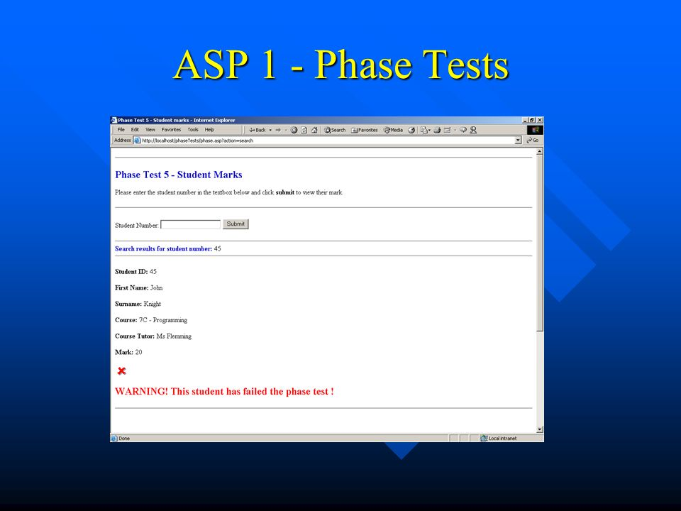 ASP 1 - Phase Tests