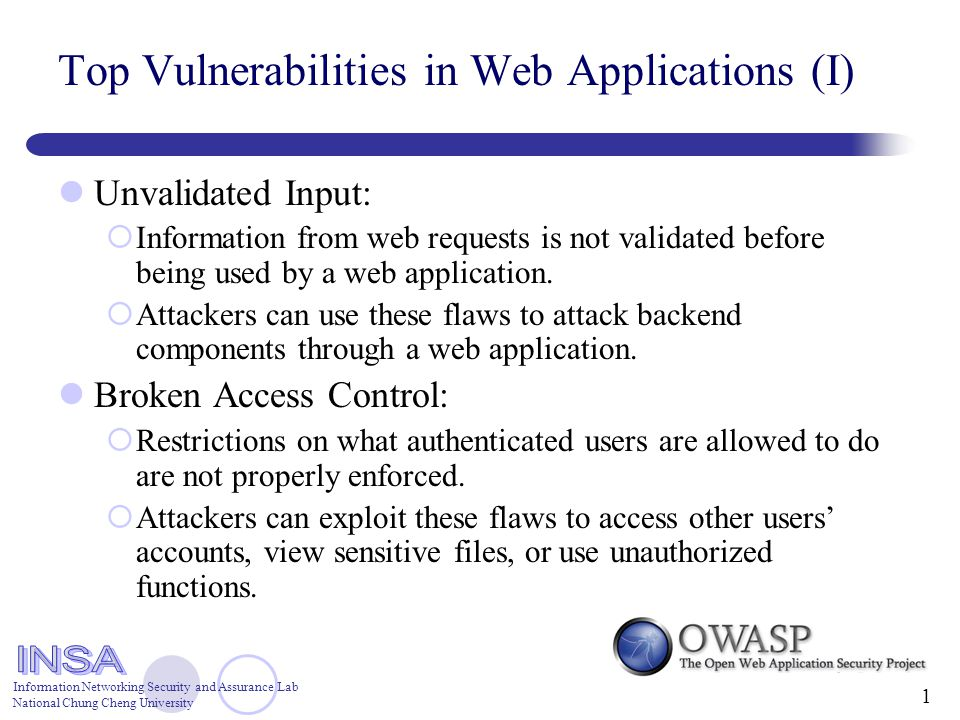 Information Networking Security and Assurance Lab National Chung Cheng University 1 Top Vulnerabilities in Web Applications (I) Unvalidated Input:  Information from web requests is not validated before being used by a web application.