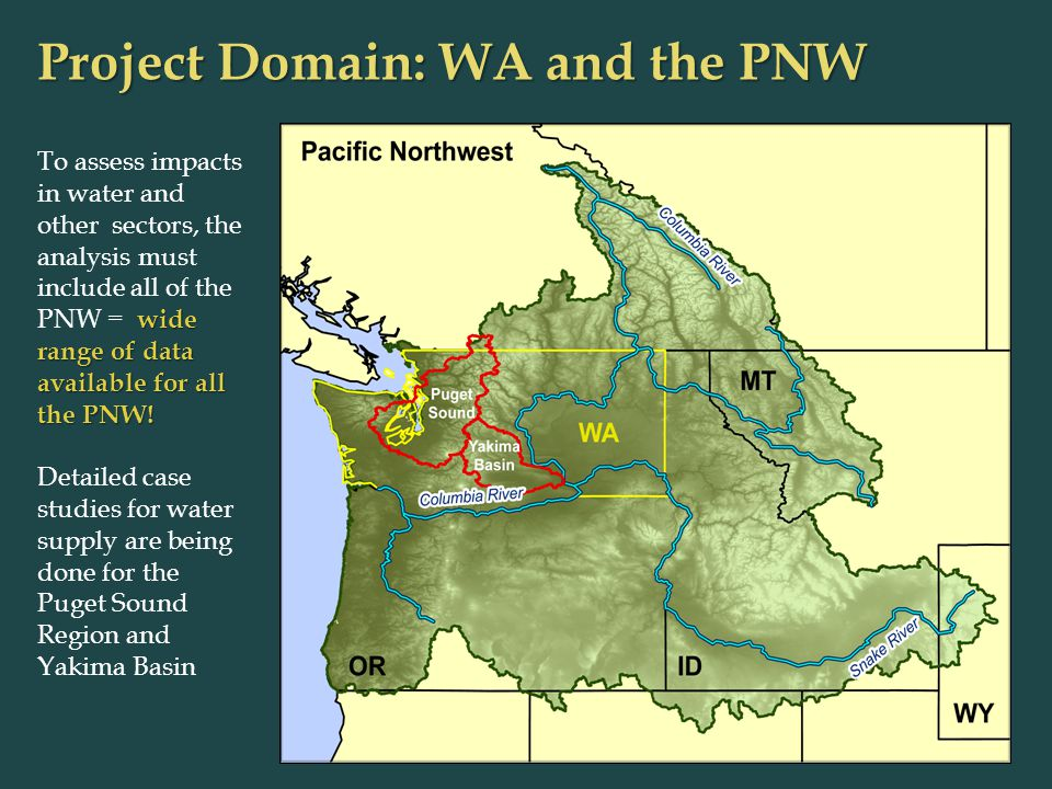 Project Domain: WA and the PNW wide range of data available for all the PNW.