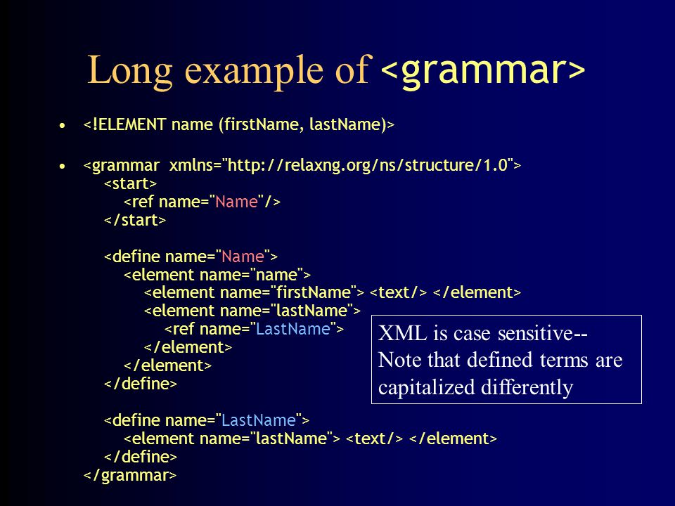 Long example of XML is case sensitive-- Note that defined terms are capitalized differently