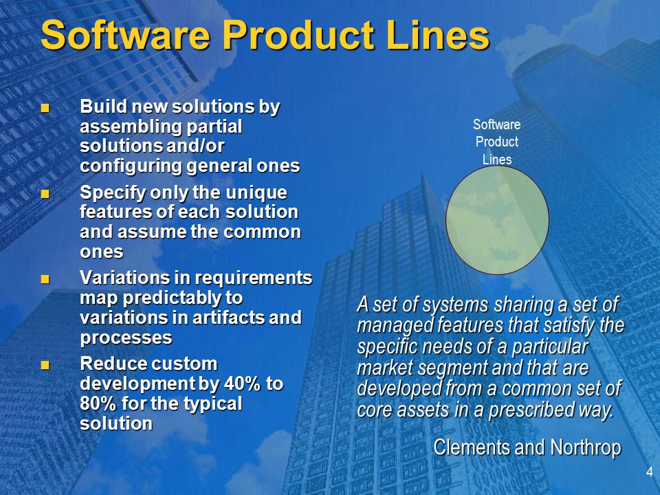 4 Software Product Lines Build new solutions by assembling partial solutions and/or configuring general ones Build new solutions by assembling partial solutions and/or configuring general ones Specify only the unique features of each solution and assume the common ones Specify only the unique features of each solution and assume the common ones Variations in requirements map predictably to variations in artifacts and processes Variations in requirements map predictably to variations in artifacts and processes Reduce custom development by 40% to 80% for the typical solution Reduce custom development by 40% to 80% for the typical solution Software Product Lines A set of systems sharing a set of managed features that satisfy the specific needs of a particular market segment and that are developed from a common set of core assets in a prescribed way.