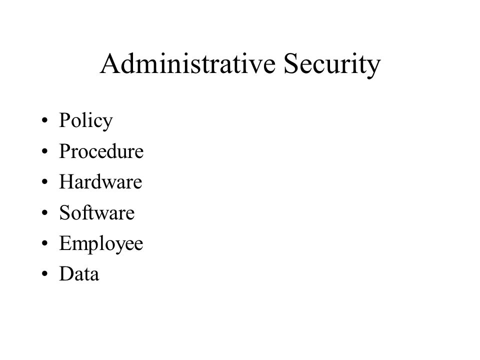 Administrative Security Policy Procedure Hardware Software Employee Data