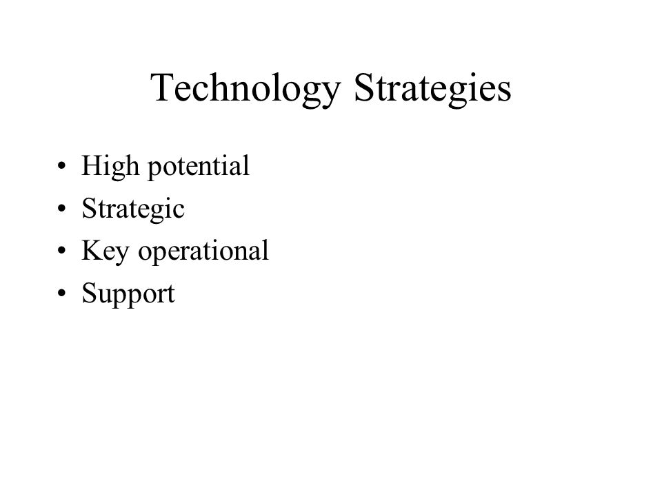 Technology Strategies High potential Strategic Key operational Support