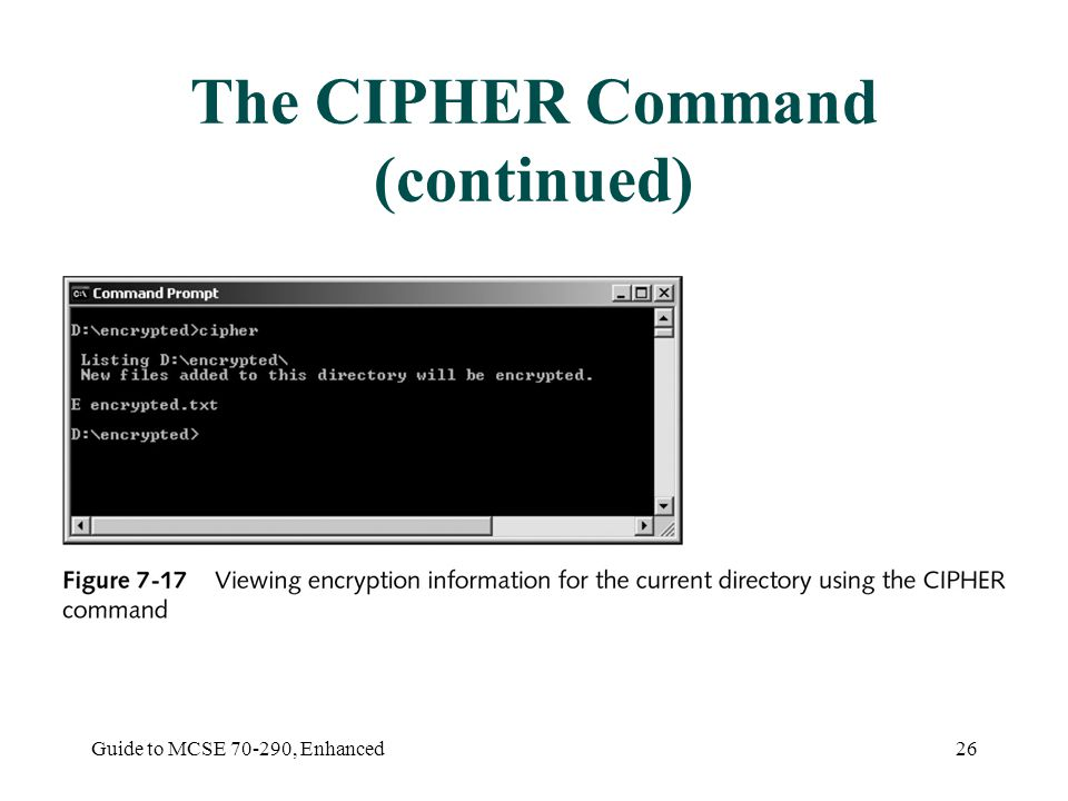 Guide to MCSE , Enhanced26 The CIPHER Command (continued)