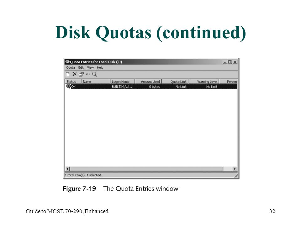 Guide to MCSE , Enhanced32 Disk Quotas (continued)