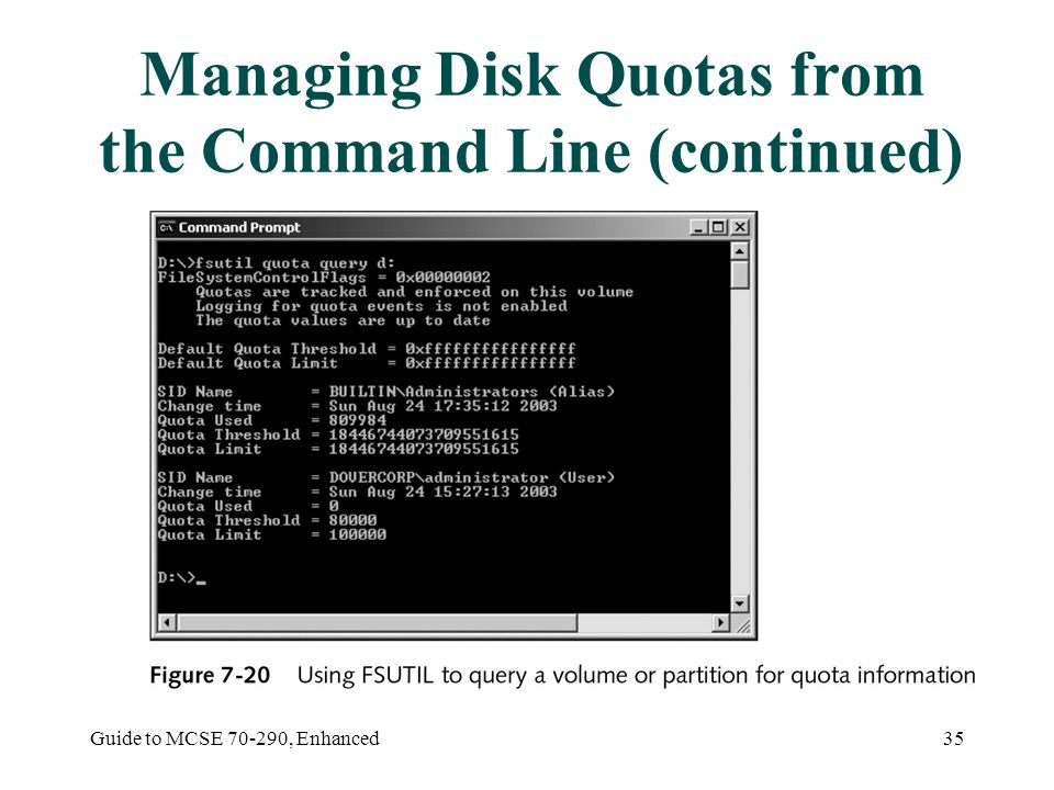 Guide to MCSE , Enhanced35 Managing Disk Quotas from the Command Line (continued)