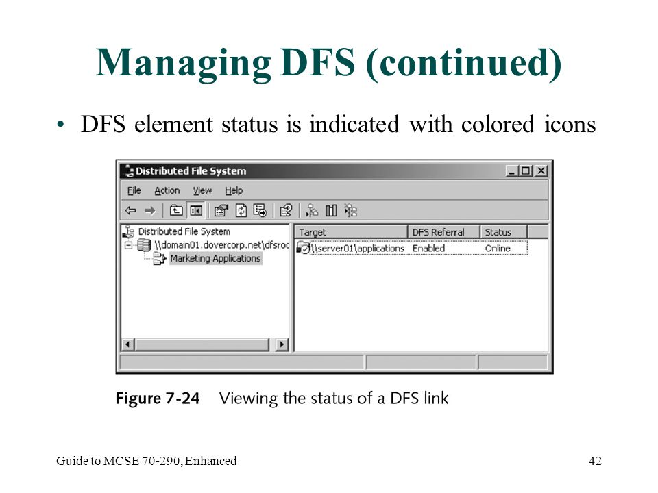 Guide to MCSE , Enhanced42 Managing DFS (continued) DFS element status is indicated with colored icons