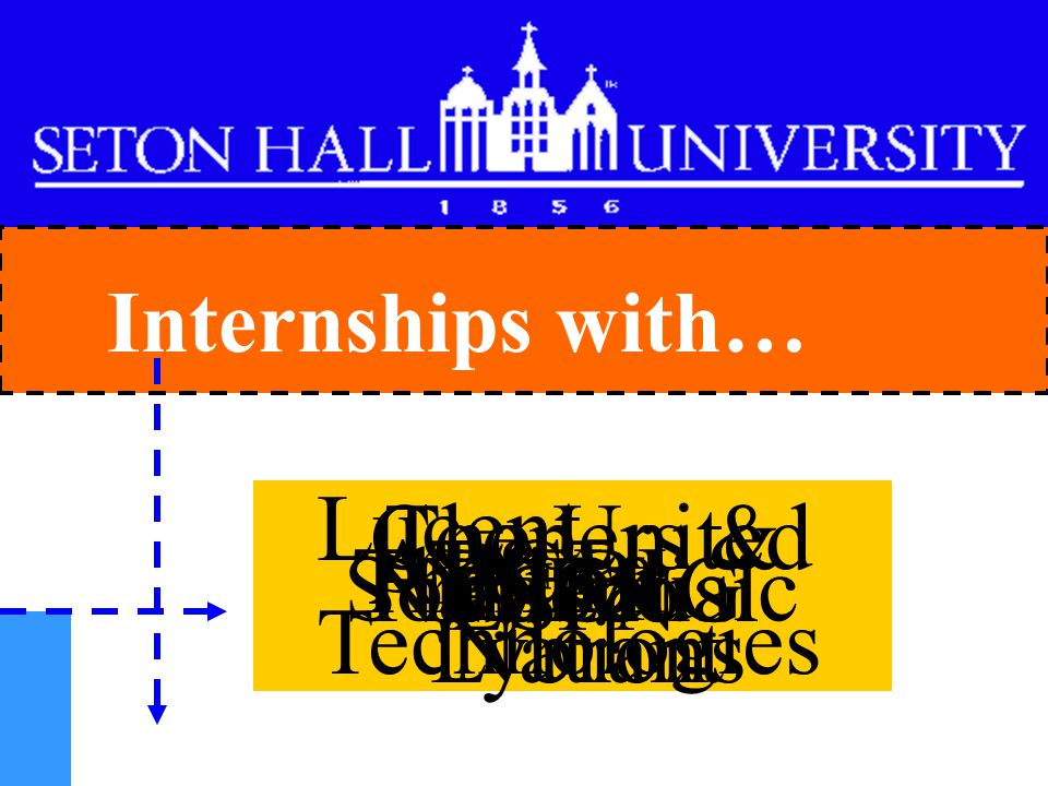 Internships with… Sony Music Nabisco ABC Prudential AT&T The FBI Lucent Technologies The United Nations NBC Pfizer PSE&G ESPN Coopers & Lybrant
