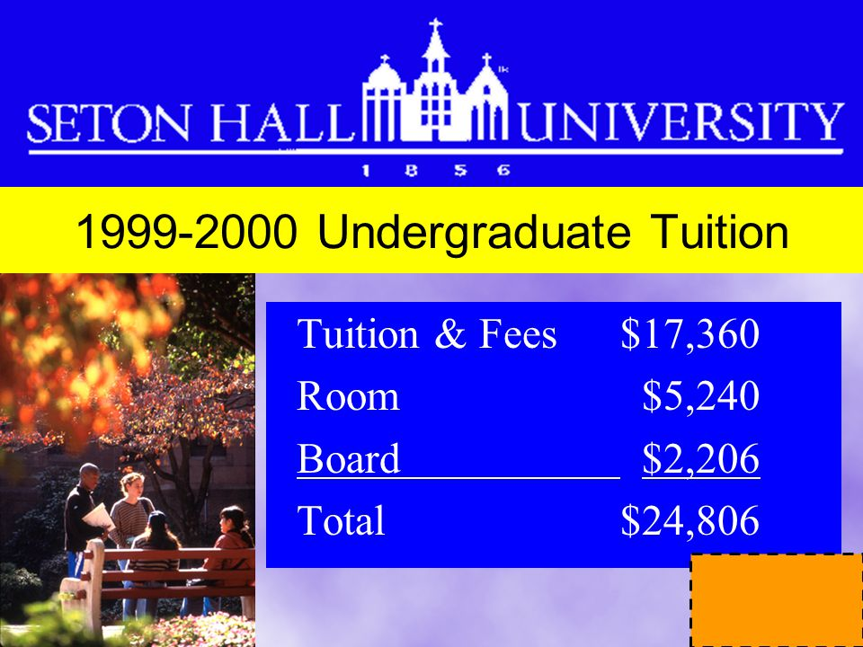 Undergraduate Tuition Tuition & Fees $17,360 Room $5,240 Board $2,206 Total $24,806