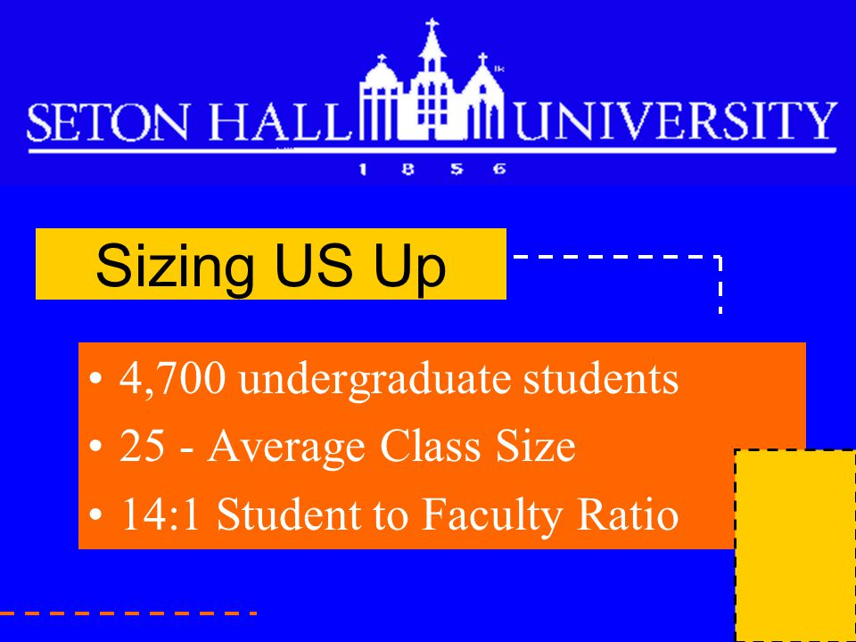 Sizing US Up 4,700 undergraduate students 25 - Average Class Size 14:1 Student to Faculty Ratio