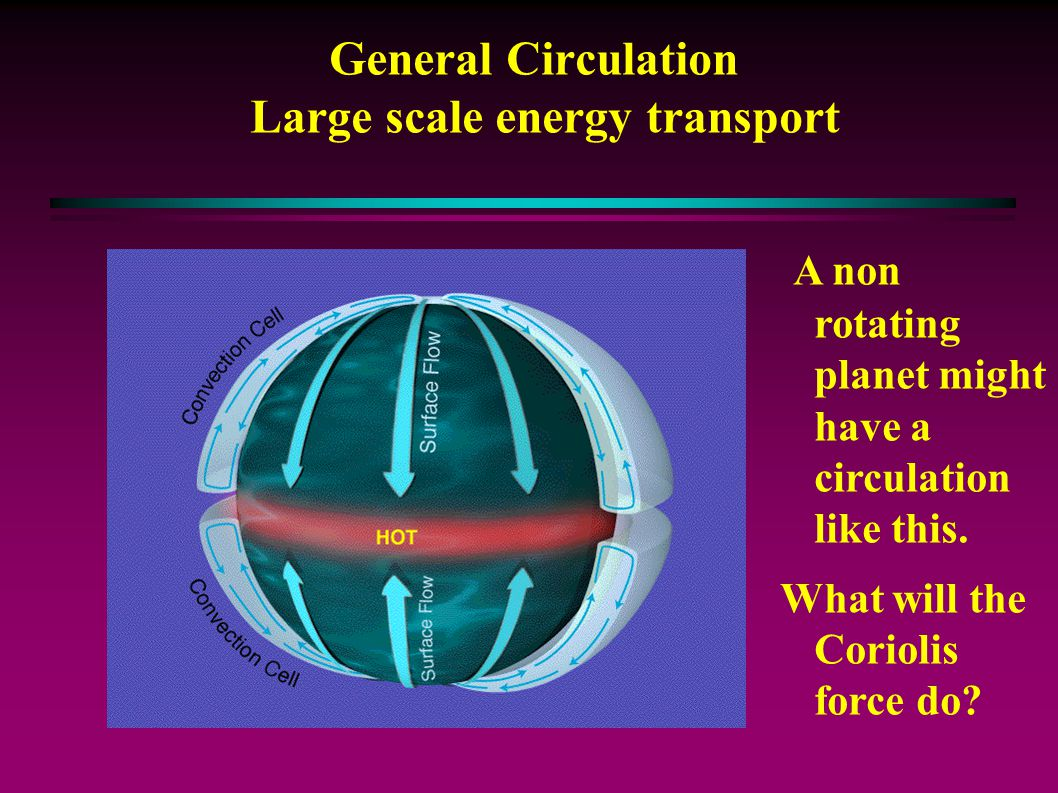 General Circulation Large scale energy transport A non rotating planet might have a circulation like this.