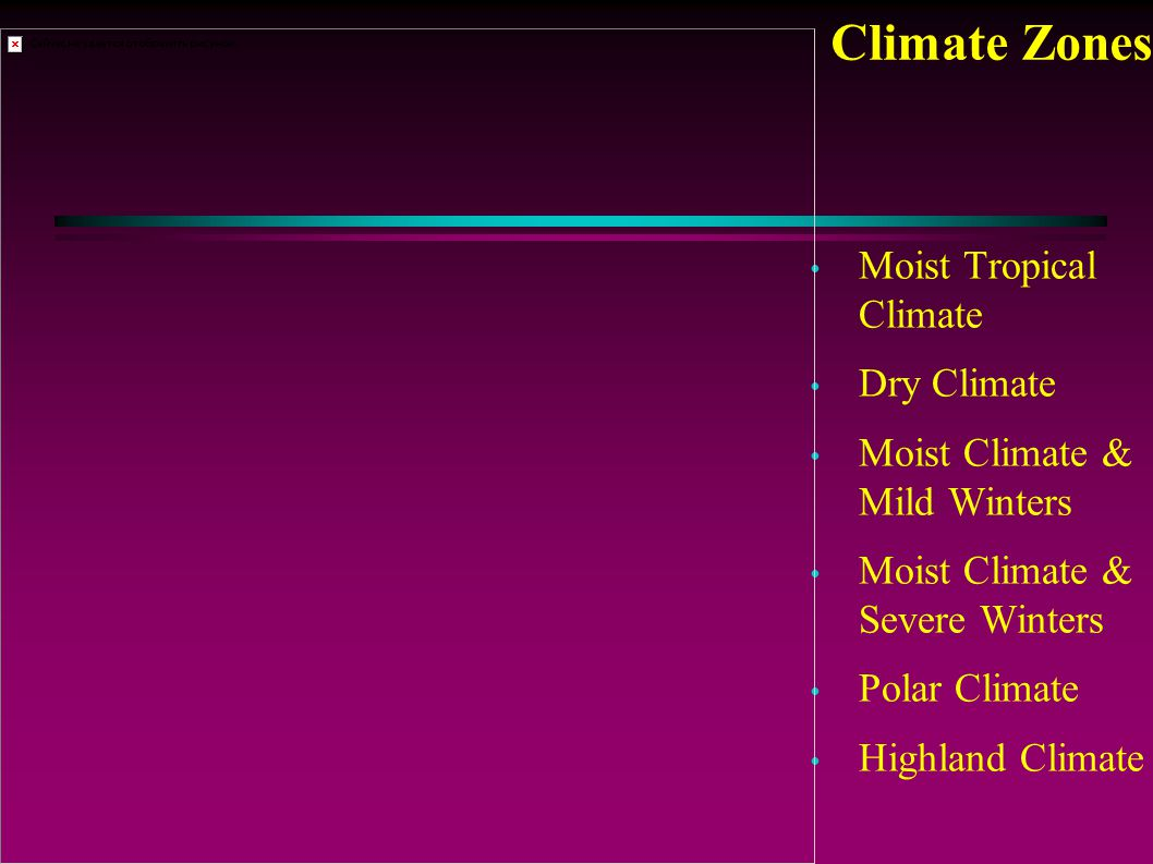 Climate Zones Moist Tropical Climate Dry Climate Moist Climate & Mild Winters Moist Climate & Severe Winters Polar Climate Highland Climate