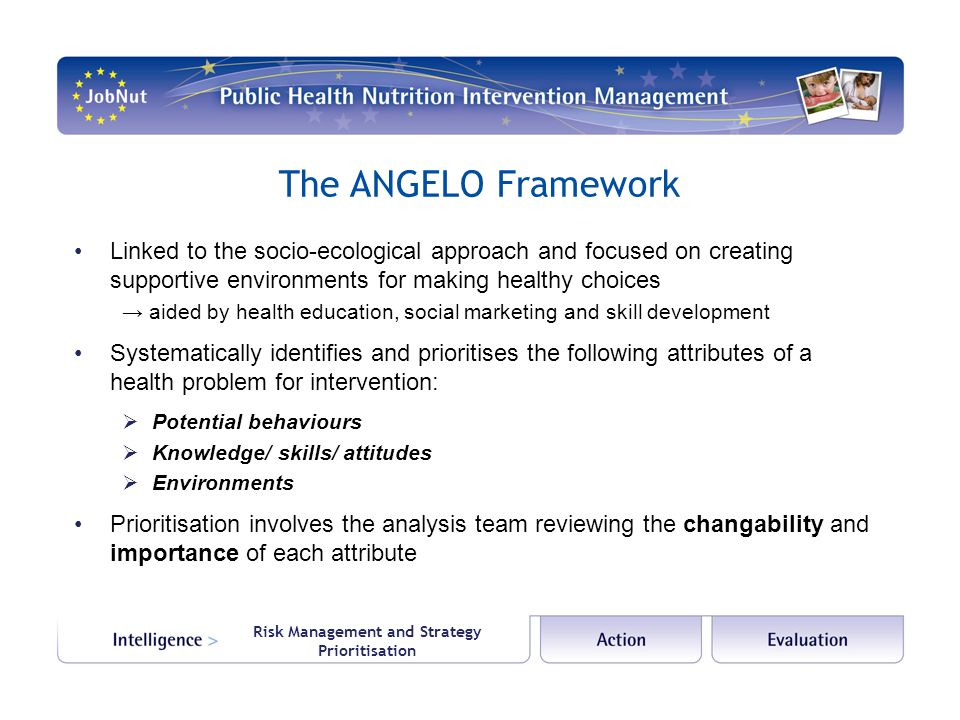 Risk Management and Strategy Prioritisation The ANGELO Framework Linked to the socio-ecological approach and focused on creating supportive environments for making healthy choices → aided by health education, social marketing and skill development Systematically identifies and prioritises the following attributes of a health problem for intervention:  Potential behaviours  Knowledge/ skills/ attitudes  Environments Prioritisation involves the analysis team reviewing the changability and importance of each attribute