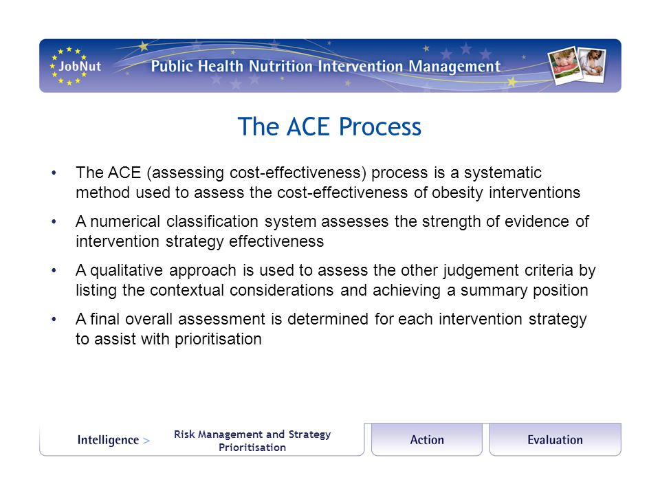 Risk Management and Strategy Prioritisation The ACE Process The ACE (assessing cost-effectiveness) process is a systematic method used to assess the cost-effectiveness of obesity interventions A numerical classification system assesses the strength of evidence of intervention strategy effectiveness A qualitative approach is used to assess the other judgement criteria by listing the contextual considerations and achieving a summary position A final overall assessment is determined for each intervention strategy to assist with prioritisation