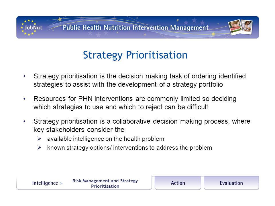 Strategy Prioritisation Strategy prioritisation is the decision making task of ordering identified strategies to assist with the development of a strategy portfolio Resources for PHN interventions are commonly limited so deciding which strategies to use and which to reject can be difficult Strategy prioritisation is a collaborative decision making process, where key stakeholders consider the  available intelligence on the health problem  known strategy options/ interventions to address the problem Risk Management and Strategy Prioritisation