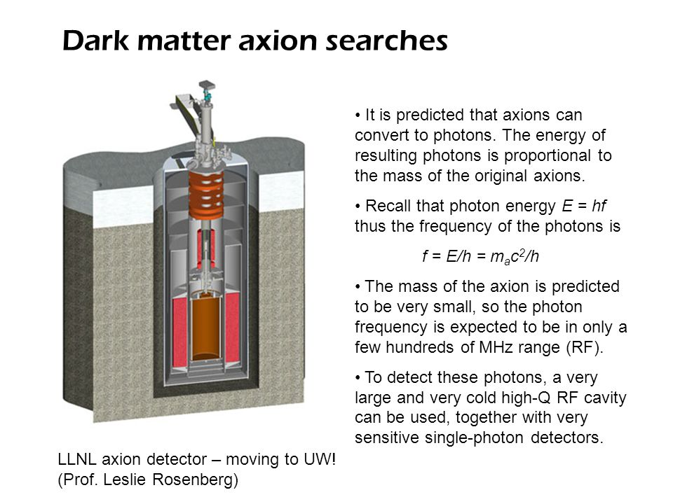 Dark matter axion searches LLNL axion detector – moving to UW.