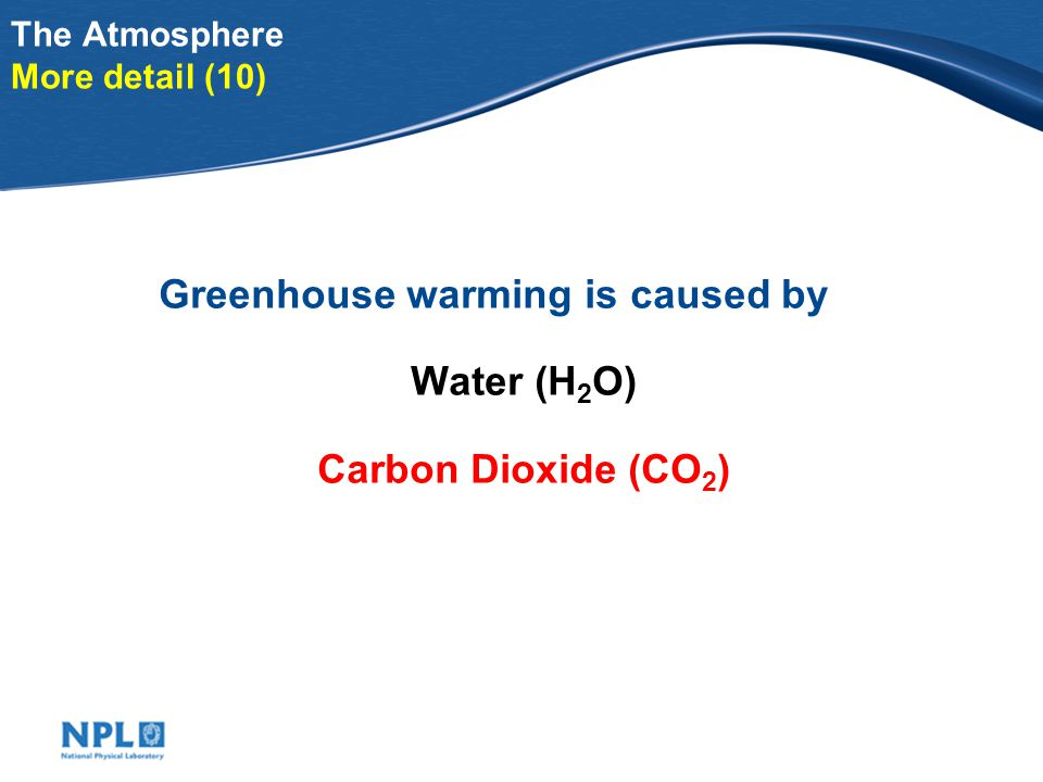 Illustration of atmospheric composition More detail (8) About molecules Carbon dioxide (CO 2 )