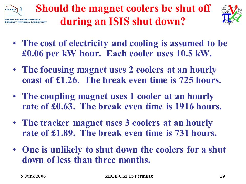 9 June 2006MICE CM-15 Fermilab29 Should the magnet coolers be shut off during an ISIS shut down.