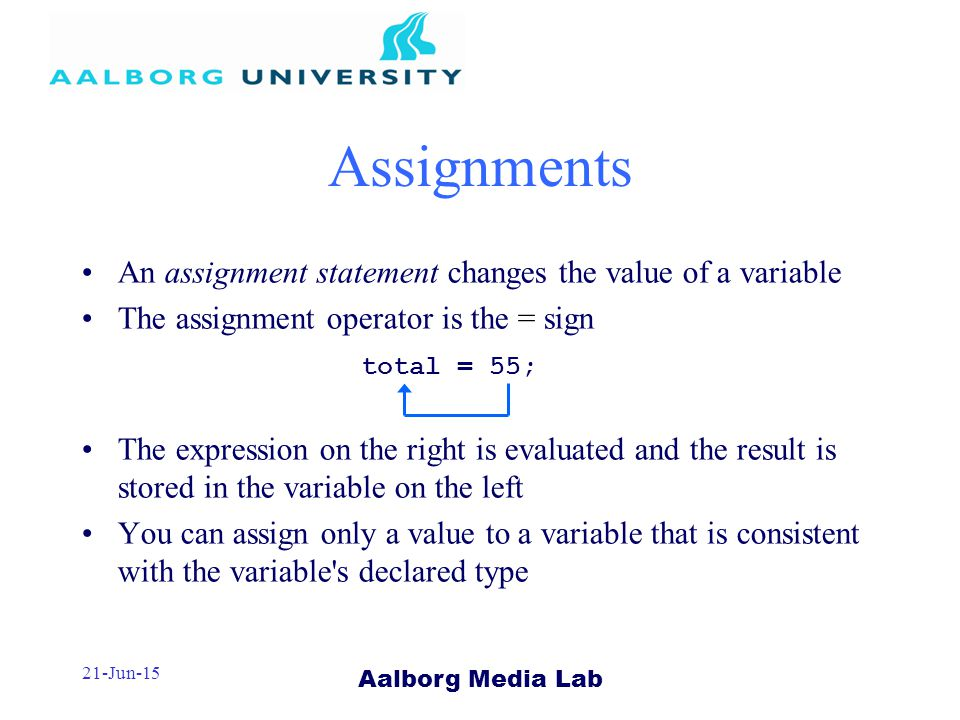 Aalborg Media Lab 21-Jun-15 An assignment statement changes the value of a variable The assignment operator is the = sign The expression on the right is evaluated and the result is stored in the variable on the left You can assign only a value to a variable that is consistent with the variable s declared type Assignments total = 55;