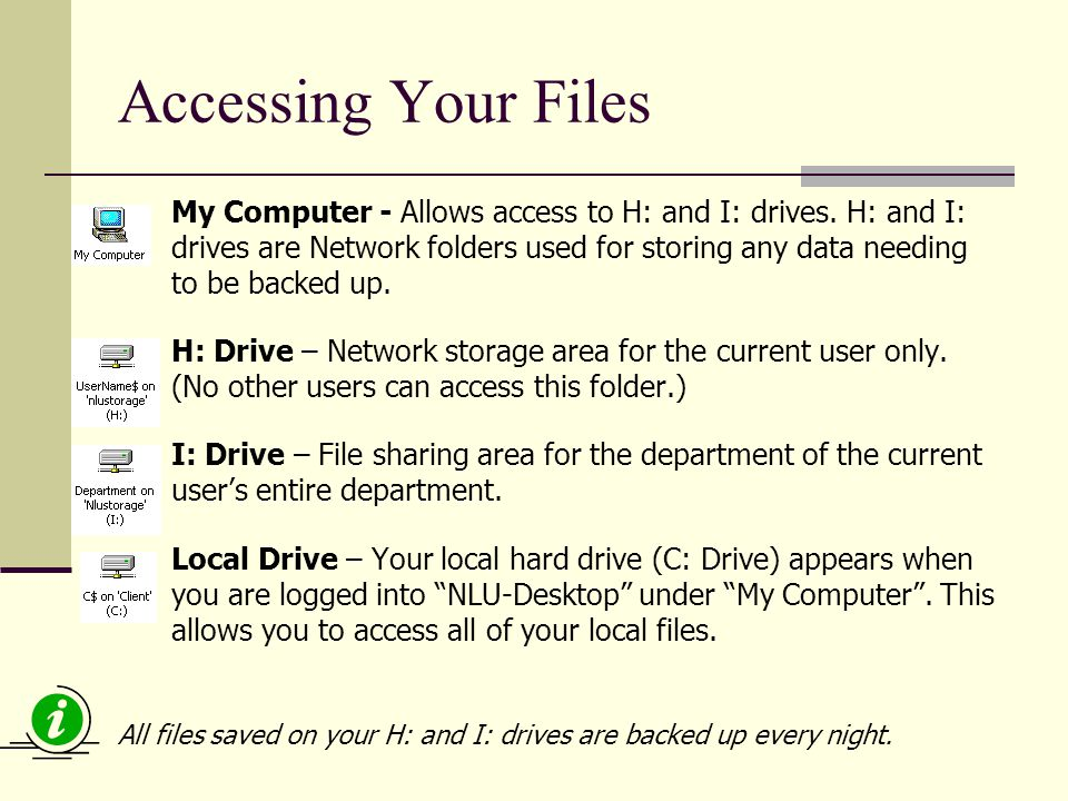 Accessing Your Files My Computer - Allows access to H: and I: drives.