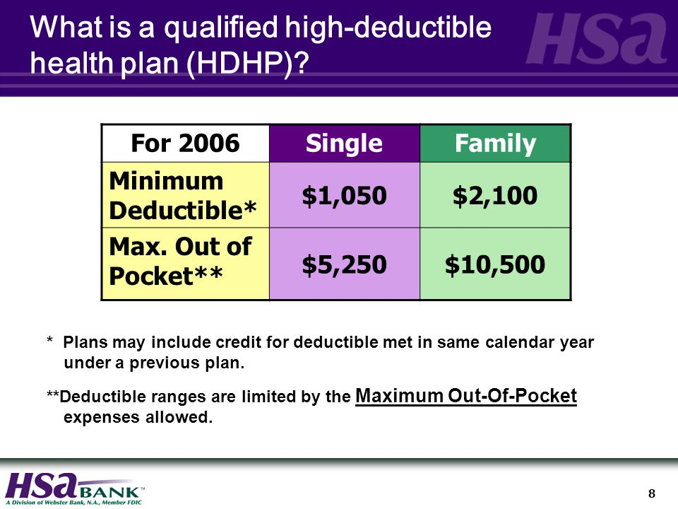 8 * Plans may include credit for deductible met in same calendar year under a previous plan.
