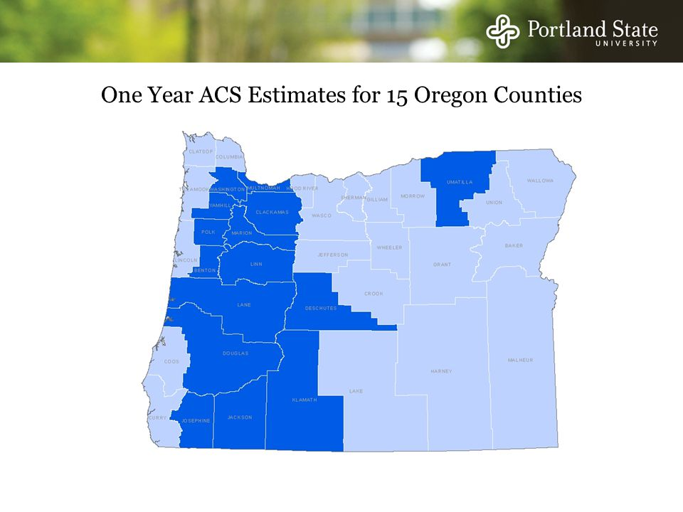 One Year ACS Estimates for 15 Oregon Counties