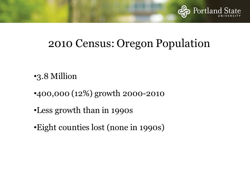 2010 Census: Oregon Population 3.8 Million 400,000 (12%) growth Less growth than in 1990s Eight counties lost (none in 1990s)