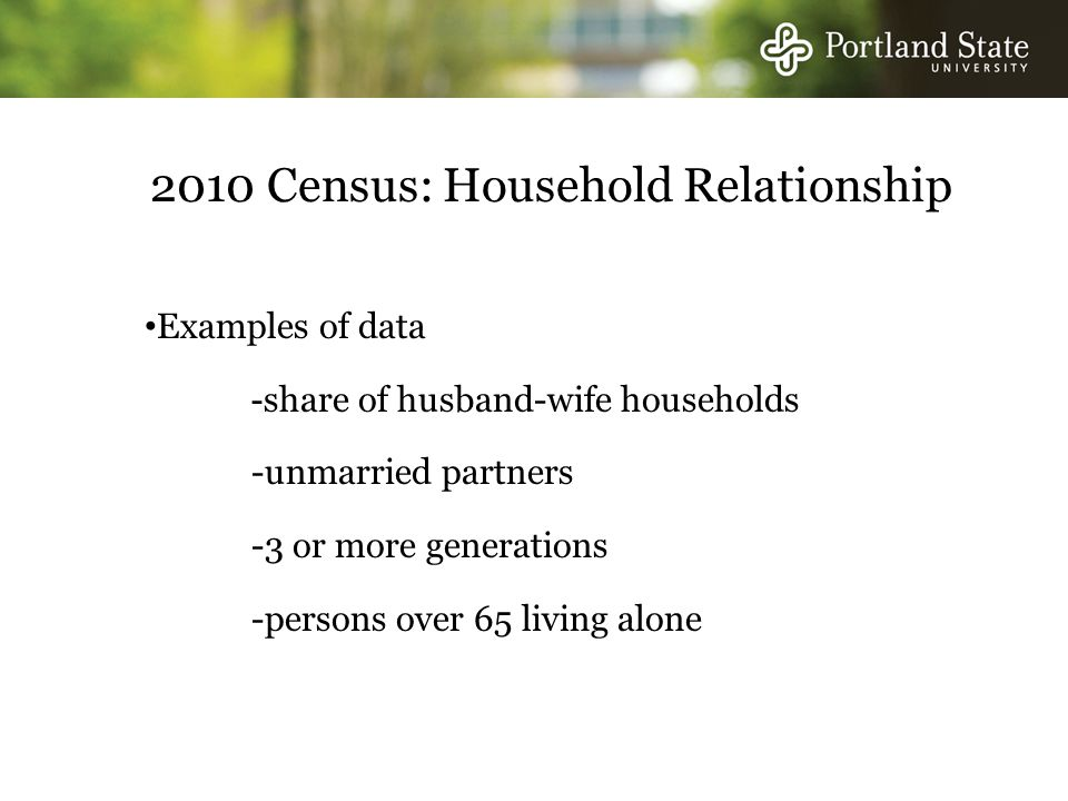 2010 Census: Household Relationship Examples of data - share of husband-wife households -unmarried partners -3 or more generations -persons over 65 living alone