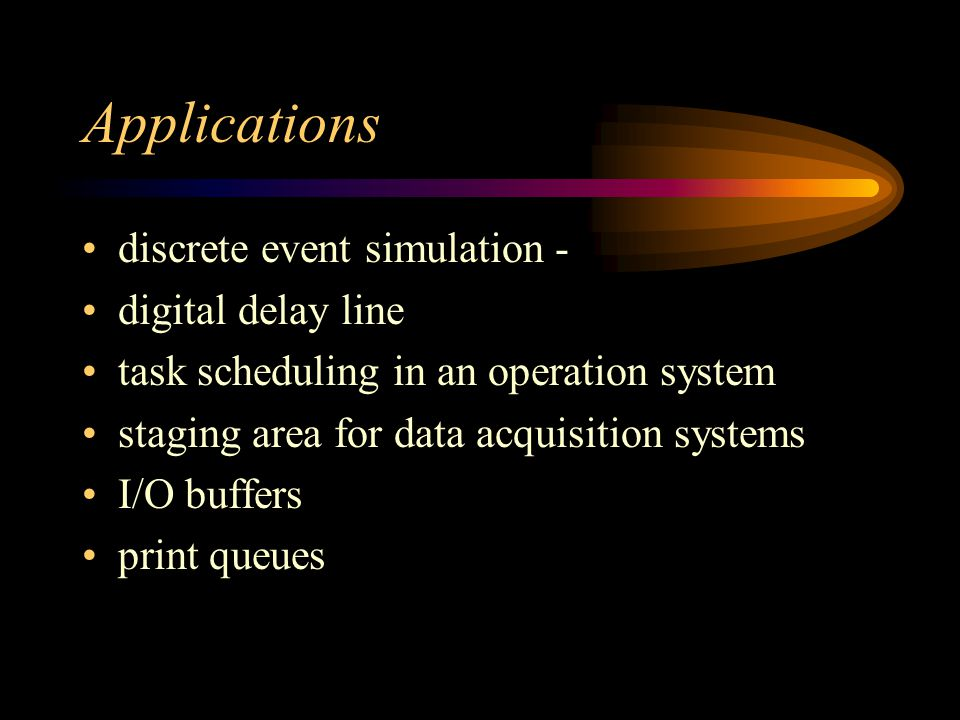 Applications discrete event simulation - digital delay line task scheduling in an operation system staging area for data acquisition systems I/O buffers print queues