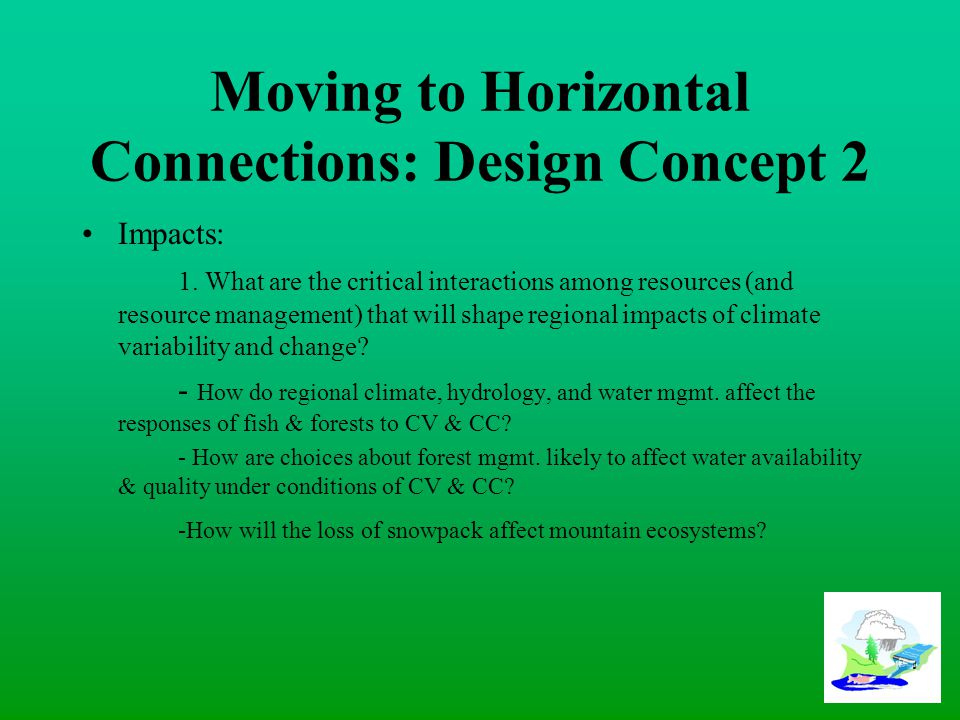 Moving to Horizontal Connections: Design Concept 2 Impacts: 1.